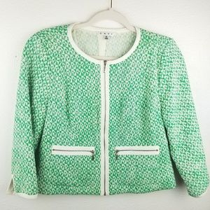 CABI Green Tweed Zipper Blazer Jacket